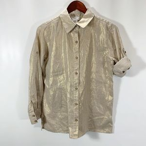Kate Hill PS Blouse Button Front Linen Roll Tab Sl